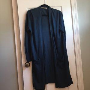 5/$20!  Loft long teal open cardigan medium